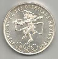 Messico, 25 P., 1968, Giochi Olimpici, Ag. - Mexico