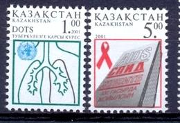 KZ 2001-338-9 Against Aids, KAZAKISTAN, 1 X 2v, MNH - Kasachstan