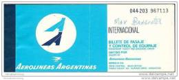 Aerolineas Argentinas 1978 - Sao Paulo Bs Aires Rio De Janeiro - Tickets