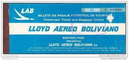 LAB - Lloyd Aereo Boliviano 1975 - La Paz Asuncion - Tickets