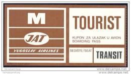 Boarding Pass - Transit - JAT Yugoslav Airlines - Bordkarten