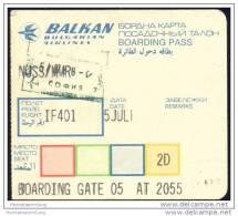 Boarding Pass - Balken Bulgarian Airlines - Bordkarten