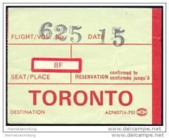 Boarding Pass - Air Canada - Bordkarten