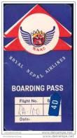 Boarding Pass - RNAC Royal Nepal Airlines - Bordkarten