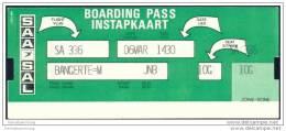 Boarding Pass - SAA-SAL South African Airways - Suid Afrikaanse Lugdiens - Bordkarten