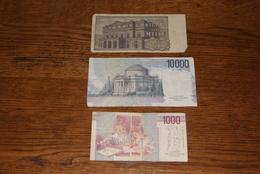 Lot De 3 Billets (1000 Et 10 000 Lires) Classe TB - [ 2] 1946-… : Républic