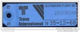 Baggage Strap Tag - Trans International Airlines - Aufklebschilder Und Gepäckbeschriftung