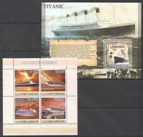 U680 2007 S.TOME E PRINCIPE SHIPS & BOATS NAVIOS DE CRUZEIRO TITANIC 1BL+1KB  MNH - Ships