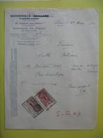 Timbre Fiscaux Avec DA Sur Document Etb Borderieux   1943 - Fiscaux