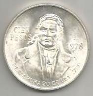 Messico, 100 Pesos 1978, Ag. Morelos. - Messico