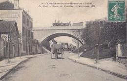78 CONFLANS Sainte Honorine  Route De PONTOISE Animée Commerce Passage Du TRAIN Sur Le PONT - Conflans Saint Honorine
