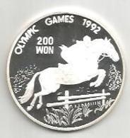 Corea Del Nord, 200 Won. 1991, Ag. FS., Giochi Olimpici 1992, Ippica. - Corée Du Nord