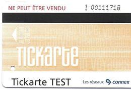 TICKET LES RESEAUX CONNEX TICKARTE TEST  POUR COLLECTIONNEUR - Bus