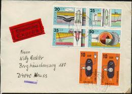 DDR 1980 Michel 2557-2560 Viererblock Und 2601 X2 Auf Eilsendung / Exprès Brief Von Magdeburg Nach Neuss, 2 Scans!! - Covers & Documents