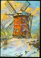 AKx Künstlerkarte Sign. Curt Nyström - God Jul Gott Nytt År - Weihnachten Neujahr Windmühle Schnee - Künstlerkarten