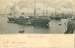 Cpa Cartolina Postale 1900 - Ricordo Di LIVORNO - Il Porto (bateaux, Port) - Livorno