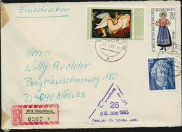 DDR 1975, 1977, Michel 2029, 2214, 2234, 3 Höchstwerte Auf Einschreiben R-Brief Von Magdeburg Nach Neuss, 2 Scans!! - DDR