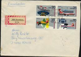 DDR 1980 Michel 2516-2519 Interflug Viererblock Auf Einschreiben R-Brief Von Magdeburg Nach Neuss, 2 Scans!! - DDR