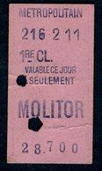 Ticket - METROPOLITAIN PARIS - METRO - 1ère Classe - MOLITOR - 1911 - Rare - Season Ticket