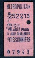 Ticket - METROPOLITAIN PARIS - METRO - 1ère Classe - POISSONNIERE - 1913 - Rare - Season Ticket