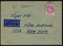 BIZONE 1948, 90 Pf. BAUTEN ALS EINZELFRANKATUR AUF BRIEF IN DIE USA, TOPP! - Zone Anglo-Américaine