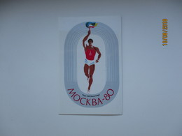 RUSSIA USSR 1980 MOSCOW OLYMPIC GAMES POCKET CALENDAR , RUNNER WITH TORCH , 00 - Apparel, Souvenirs & Other