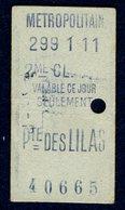 Ticket - METROPOLITAIN PARIS - METRO - 2ème Classe - PORTE Des LILAS - 1911 - Rare - Season Ticket