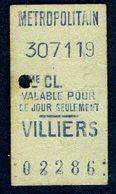 Ticket - METROPOLITAIN PARIS - METRO - 2ème Classe - VILLIERS - 1919 - Rare - Season Ticket