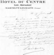 HOTEL DU CENTRE CAFE RESTAURANT   MARTIGNY LES BAINS   VOSGES    COURRIER - France