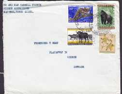 Belgian Congo MISSION METHODISTE, KAPANGA Cover Lettre  ODENSE Denmark Galago Gorilla Bufallo Orchid Stamps - Congo Belge