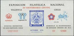 Soccer Football Chile Souvenir Sheet 1978 World Cup Argentina MNH ** Space Olympics - World Cup