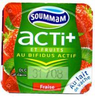 "Opercule Cover Yaourt Yogurt "" Soummam "" Acti + Fraise Strawberry Yoghurt Yoghourt Yahourt Yogourt Old Design - Opercules De Lait"