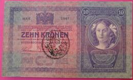 FIUME - RIJEKA 10 KRONEN ND 1918 (OLD DATE 1904), ITALY, CROATIA, AUSTRIA, HUNGARY, SEAL ON OBVERSE, ORIGINAL SEAL, RARE - Autriche