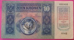 FIUME - RIJEKA 10 KRONEN ND 1918 (OLD DATE 1915), ITALY, CROATIA, AUSTRIA, HUNGARY, SEAL ON OBVERSE, ORIGINAL SEAL, RARE - Autriche
