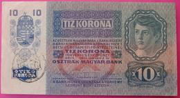 FIUME - RIJEKA 10 KRONEN ND 1918 (OLD DATE 1915), ITALY, CROATIA, AUSTRIA, HUNGARY, SEAL ON REVERSE, ORIGINAL SEAL, RARE - Hongrie