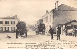 33-SALLES- ATTELAGE LANDAIS- TRANSPORTANT LE CHARBON POUR BORDEAUX - France