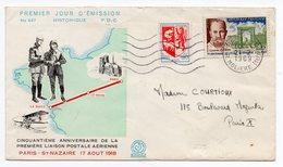 Oblitération Du 21/02/1969 Paris Sur Enveloppe FDC Anniversaire De La Première Liaison Postale  (Réf 18-623) - Marcophilie (Lettres)