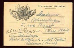 Carte FM De Orléans Pour Paris En 1939 - Guerre De 1939-45