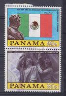 Panama 1976 Mi. 1292+1298     2 X 20 C. Flag Flagge Von Mexico & Simon Bolivar Denkmal (Pair, Paare) - Panama