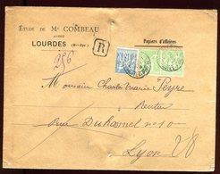 Enveloppe En Recommandé De Lourdes Pour Lyon - Marcophilie (Lettres)