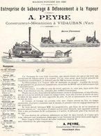 ENTREPRISE DE LABOURAGE & DEFONCEMENT A LA VAPEUR -A. PEYRE-CONSTRUCTEUR-MECANICIEN A VIDAUBAN VAR - Publicités