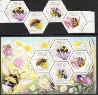 IRELAND, 2018, MNH, INSECTS, BEES, 4v+ SHEETLET - Api