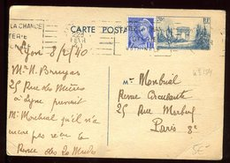 Entier Postal De Lyon Pour Paris En 1940 - Entiers Postaux