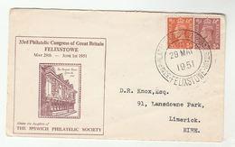 1951 GB Felixstowe PHILATELIC CONGRESS  COVER GVI Stamps Philatelic Exhibition - Esposizioni Filateliche