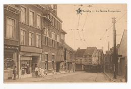 Seraing Le Temple Evangélique Carte Postale Ancienne Animée Tram Tramway - Seraing