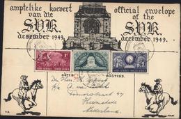 Amptelike Koevert Van Die SVK Official SVK December 1949 YT South Suid Afrika 179 180 181 CAD 16 XII 49 Cavalier Chevaux - África Del Sur (...-1961)