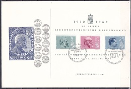 Liechtenstein/1962 - Liechtenstein Stamps/Liechtensteinische Briefmarken/Timbres Du Liechtenstein - Block - FDC - FDC