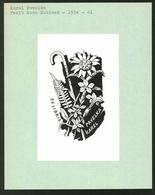 Ex-libris Von Ruda Kubicek Für Karel Pavelka, Spazierstock & Blühende Des Fleurs - Exlibris