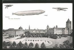 AK Posen / Poznan, Die Neue Kaiserpfalz, Zeppelin Und Flugzeug Am Himmel - Posen