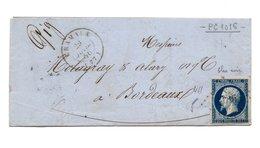 Lettre De Cramaux (Carmaux Tarn) Pour Bordeaux Du 29/7/56 Avec Timbre Type Empire 20c Bleu Oblitéré PC1016 Et CachetT 15 - Marcophilie (Lettres)